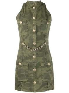 Balmain камуфляжное джинсовое платье без рукавов