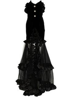 Alessandra Rich вечернее платье без бретелей с оборками