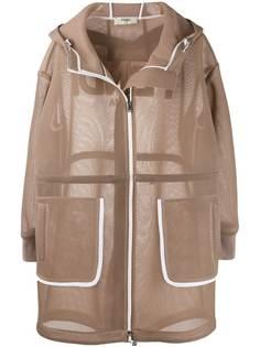Fendi сетчатое пальто с капюшоном