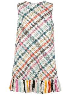 Oscar de la Renta короткое твидовое платье с вышивкой
