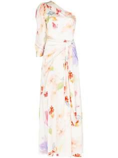 Peter Pilotto вечернее платье с цветочным принтом и драпировкой