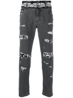 Dolce & Gabbana джинсы скинни с прорезями и принтом