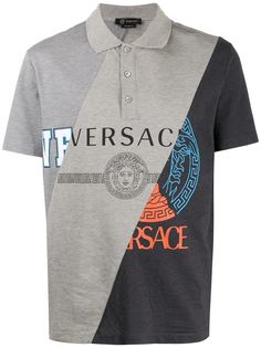 Versace рубашка-поло со вставками
