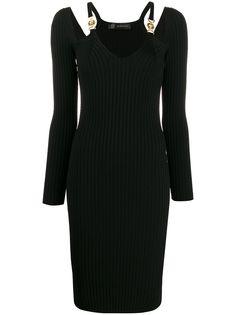 Versace платье в рубчик с декором Medusa