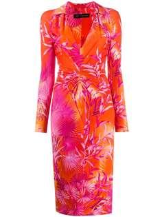Versace приталенное платье-рубашка с принтом