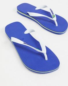 Сине-белые шлепанцы с логотипом Havaianas-Синий