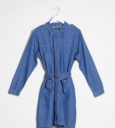 Джинсовое платье-рубашка с поясом Simply Be-Синий