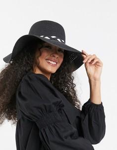 Черная шляпа с плетеной отделкой Boardmans-Черный