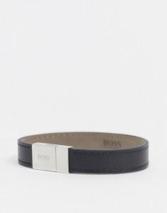 Черный кожаный браслет с серебристой застежкой Hugo Boss