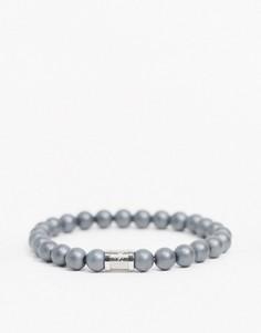 Серый браслет из бусин с магнитной застежкой Hugo Boss