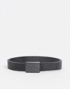 Черный металлический сетчатый браслет Hugo Boss