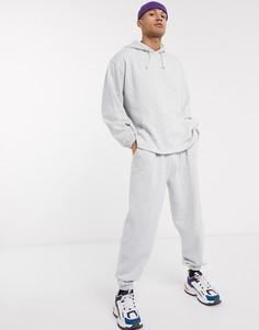 Серый меланжевый спортивный костюм в стиле oversized с худи и джоггерами ASOS DESIGN-Белый