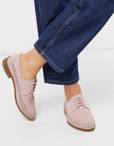 Светло-розовые замшевые туфли с плетеной отделкой и шнуровкой ASOS DESIGN-Розовый