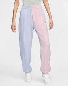 Oversized-джоггеры пастельной расцветки в стиле колор блок с логотипом металлик Nike-Мульти