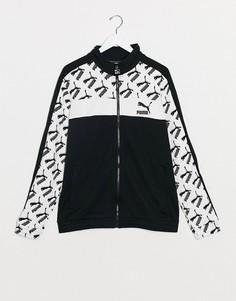 Черно-белая спортивная куртка с логотипом Puma-Черный