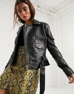 Черная кожаная куртка с поясом Barneys Originals-Черный