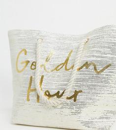"""Эксклюзивная пляжная сумка с надписью """"Golden Hour"""" South Beach-Кремовый"""