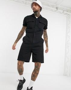 Черный джинсовый комбинезон-шорты с карманами ASOS DESIGN