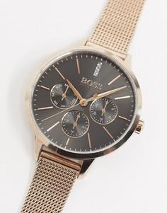 Золотистые часы с сетчатым браслетом BOSS 1502424-Золотой
