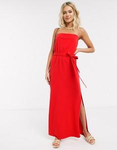Красное платье макси с вырезом бандо и поясом ASOS DESIGN-Красный