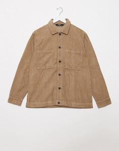 Бежевая вельветовая рубашка с длинными рукавами Bershka-Коричневый