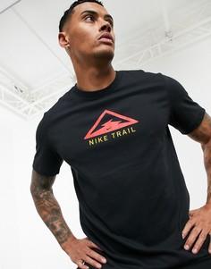 Черная футболка с логотипом Nike Running-Черный