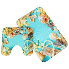 Комплект ковриков Доляна 1740424, 45х75, 40х45 см бежевый/голубой