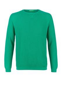 Джемпер из хлопка зеленого цвета United Colors of Benetton