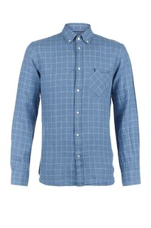 Синяя льняная рубашка к клетку Trussardi Jeans