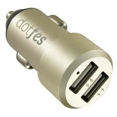 Автомобильное зарядное устройство Dotfes B03s 2xUSB, 4.8A+кабель micro USB gold