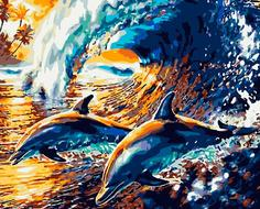 """Картина по номерам ВанГогВоМне """"Веселые дельфины"""", 40x50"""