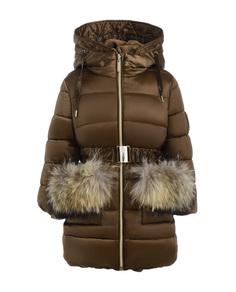 Пальто для девочек Gulliver, цв. бежевый, р.104