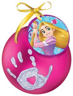 Новогодний ёлочный шар Отпечаток детской ручки Принцессы, фуксия Disney