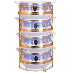 Набор супниц LORAINE, 480 мл, 5 предметов, белый/голубой