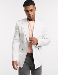 Двубортный пиджак зауженного кроя ASOS DESIGN-Серый