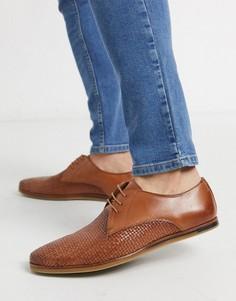 Светло-коричневые кожаные туфли со шнуровкой Walk London-Светло-коричневый