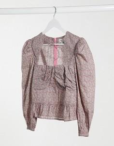 Блузка с пышными рукавами и цветочным принтом Lost Ink-Розовый