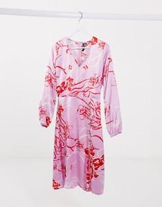 Розовое платье миди на пуговицах с цветочным принтом Influence-Розовый
