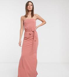 Розовое платье-бандо макси с поясом эксклюзивно для ASOS DESIGN Tall-Розовый