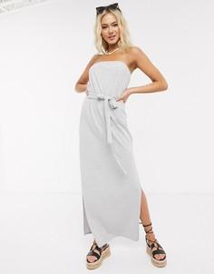 Серое меланжевое платье-бандо макси с поясом ASOS DESIGN-Серый