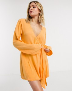 Пляжное платье-рубашка с запахом и поясом ASOS DESIGN-Оранжевый