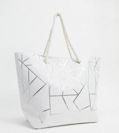 Эксклюзивная белая пляжная парусиновая сумка-тоут с геометрическим принтом South Beach-Белый