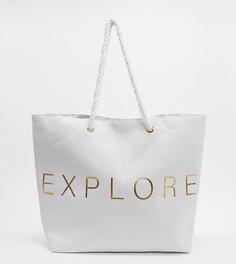 """Эксклюзивная белая пляжная парусиновая сумка-тоут с надписью """"Explore"""" South Beach-Белый"""