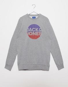Свитшот с логотипом и эффектом градиента Jack & Jones-Серый