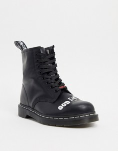 Черные ботинки с 8 парами люверсов Dr Martens x sex pistols 1460-Черный