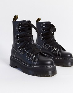 Черные кожаные ботинки на платформе Dr Martens-Красный