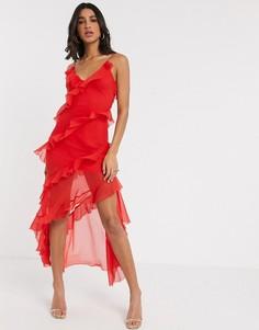 Красное платье-комбинация макси с ярусными оборками ASOS DESIGN-Красный