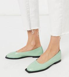 Эксклюзивные кожаные туфли мятного цвета на плоской подошве ASRA-Зеленый
