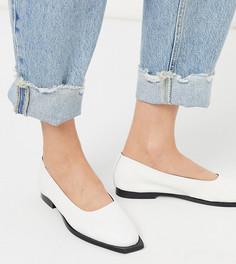 Белые эксклюзивные кожаные туфли на плоской подошве ASRA-Белый