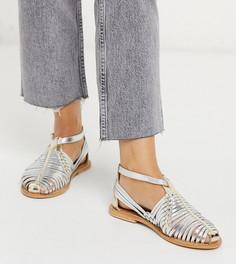 Кожаные плетеные туфли серебристого цвета на плоской подошве для широкой стопы ASOS DESIGN-Мульти